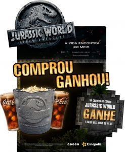 cartaz promocional do balde exclusivo da Cinépolis para o filme Jurassic World: Reino Ameaçado