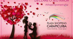 cartaz promocional do Dia dos Namorados no Plaza Shopping Carapicuíba
