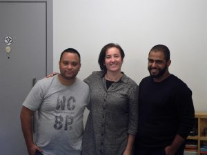 Gisele Schaaf, Rodrigo Vieira Silva e Leonardo Phelipe Rodrigues Silva durante o Participantes do Meetup Granja Vianna