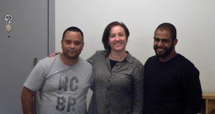 Gisele Schaaf, Rodrigo Vieira Silva e Leonardo Phelipe Rodrigues Silva durante o Participantes do Meetup Granja Viana