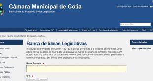 Banco de Ideias Legislativas começa a funcionar no site da Câmara de Cotia