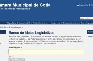 Reprodução do banco de ideias legislativas no site da Câmara de Cotia