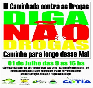 cartaz de divulgação da III Caminhada Contra as Drogas em Caucaia do Alto