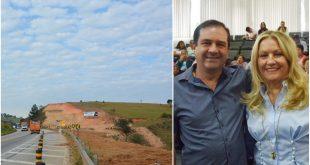 montagem com uma foto do vereador Alexandre Pierroni com a deputada Maria Lucia A e uma foto da Rodovia Lívio Tagliassachimary