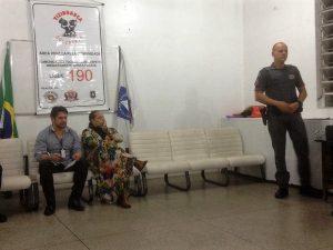 James da Settrans, Goreti e o tenente Ronald durante reunião de julho do Conseg Granja Viana