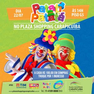 banner promocional do Show de Patati Patatá no Plaza Shopping Carapicuíba