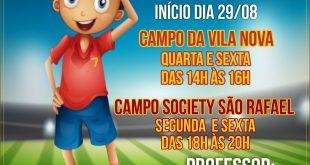 cartaz divulgando início das escolinhas de futebol de são roque