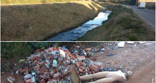 montagem com uma foto das margens limpas no trecho de asfalto e outra com descarte irregular de entulho no trecho de terra