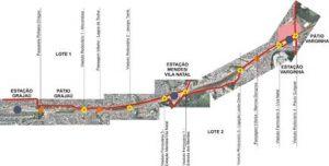 mapa das obras de extensão da Linha 9-Esmeralda