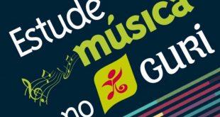 banner com a frase 'estude música no guri' escrita em letras estilizadas