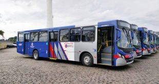 imagem de ônibus da EMTU alinhados num pátio