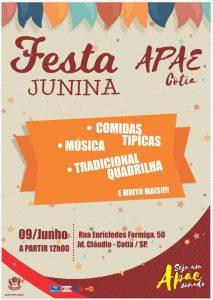 cartaz promocional da festa junina/arraía da APAE de Cotia