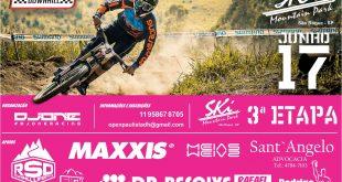 Cartaz de divulgação da terceira etapa do Open Paulista de Downhill, que ocorrerá no Ski Mountain Park