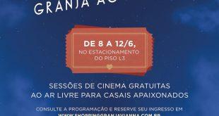 cartaz de divulgação do cine granja ao ar livre, do Shopping Granja Vianna pro dia dos namorados