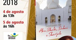 convite para o lançamento do livro 'Turistando por Abu Dhabi, Dubai e Sharjah'