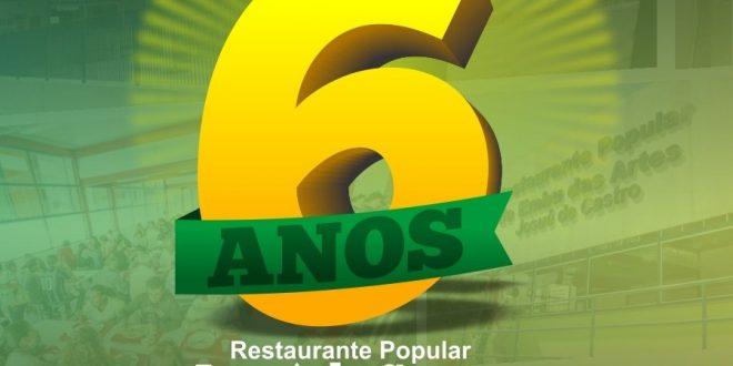 banner do sexto aniversário do restaurante popular