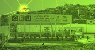 foto do centro de artes e educação unificado de Embu das Artes, com um filtro que a deixa na coloração verde e alguns raios de sol destacados