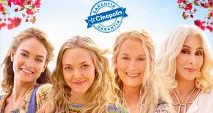 cartaz do filme 'mamma mia: lá vamos nós de novo', com o selo garantia cinépolis