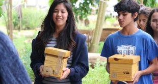 alunos segurando caixas em um jardim