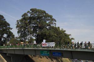 manifestantes exibem suas faixas e cartazes no viaduto de william ortiz para os motoristas que passam pela raposo tavares