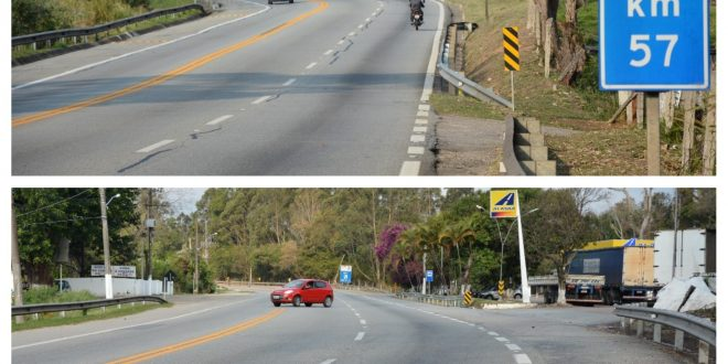 uma montagem com duas fotos do trecho perigoso da Raposo Tavares