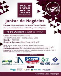 cartaz de divulgação do 2º Jantar de Negócios BNI Invictus