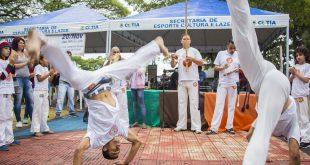 uma apreentação de capoeira no circuito cultural