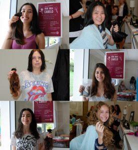 montagem com fotos de seis meninas segurando mechas que doaram