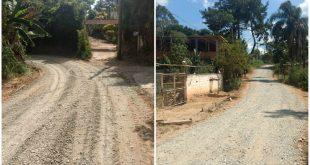 montagem com duas fotos de ruas do bairro monte serrat recém reformadas
