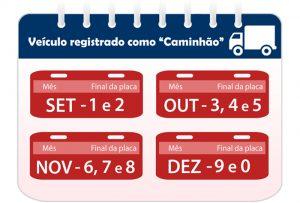 calendário de licenciamento de caminhões para 2019