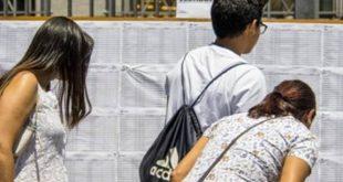 candidatos conferindo listas de aprovados em uma Etec