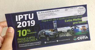 Vencimento da 1ª parcela de IPTU de Cotia é prorrogada até o dia 31/01