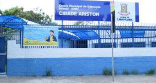 fachada da Emei Cidade Ariston reformada