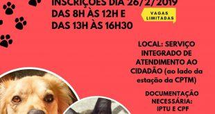 flyer de divulgação das inscrições para a campanha de castração gratuita em jandira
