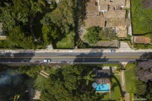vista aérea da estrada zurique recém-sinalizada