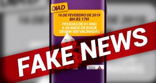uma tela de celular com informações sobre uma suposta campanha de vacinação contra o sarampo e uma tag de 'fake news' colocada na imagem