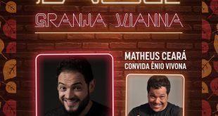 banner de divulgação da participação de matheus ceará e ênio vivona no palco granja vianna