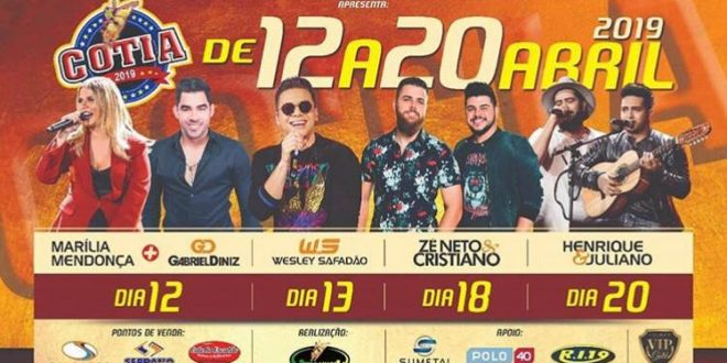 banner com programação da festa do peão de cotia 2019