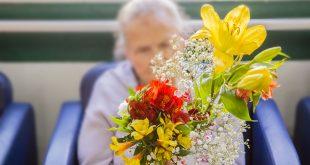 uma vaso de flores em frente a uma idosa no segundo plano, desfocada