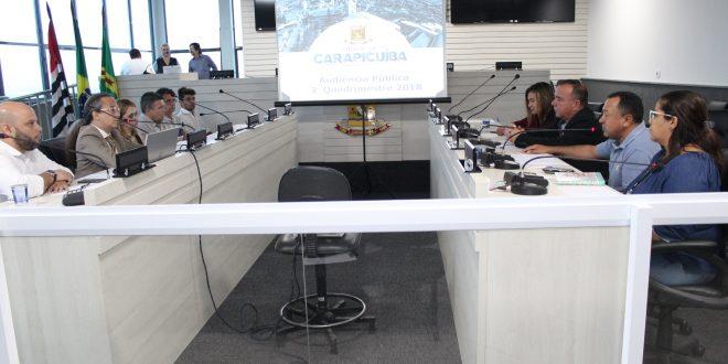 vereadores e autoridades reunidos durante audiência pública da saúde