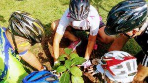 ciclistas plantam muda em cotia