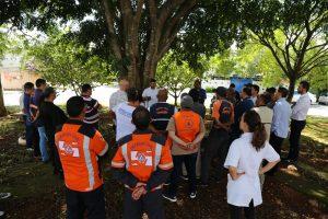 agentes da defesa civil e do IPT conversam em volta de árvore