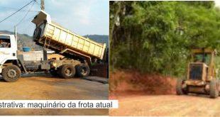 montagem com uma foto de um caminhão com a caçamba inclinando para despejar material e um trator percorrendo uma rua de terra