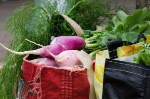 sacolas de compras cheias de produtos orgânicos