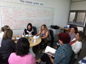 agentes de saúde de Cotia reunidas com representantes do mackenzie