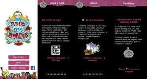 """Screenshots de algumas das páginas do aplicativo """"Caça à Alice"""", utilizado como ferramenta para interação com o público"""