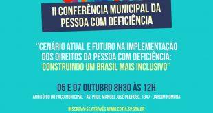 Dias 5 e 7/10 acontece a II Conferência Municipal da Pessoa com Deficiência em Cotia